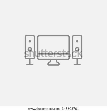 Home cinema system line icon for web, mobile and infographics. Vector dark grey icon isolated on light grey background. - stock vector