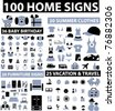 100 home & decor & clothes & baby & vacation icons, signs, vector illustrations - stock photo