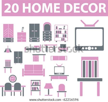20 home decor signs. vector - stock vector