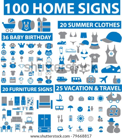 100 home icons, signs, vector - stock vector