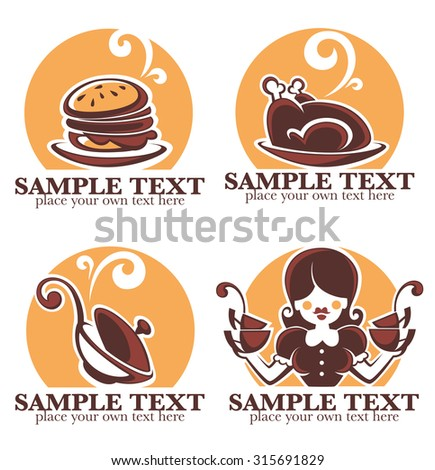 home made food, vector icon, symbols and logo collection - stock vector