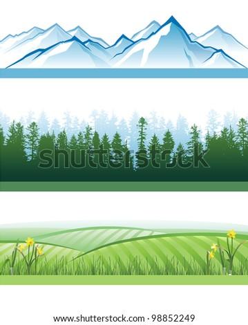 3 horizontal landscape banners - stock vector