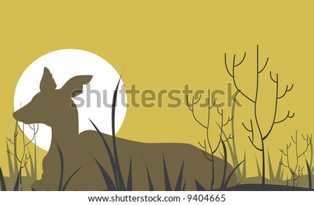 horn dear resting in a grass land	 - stock vector