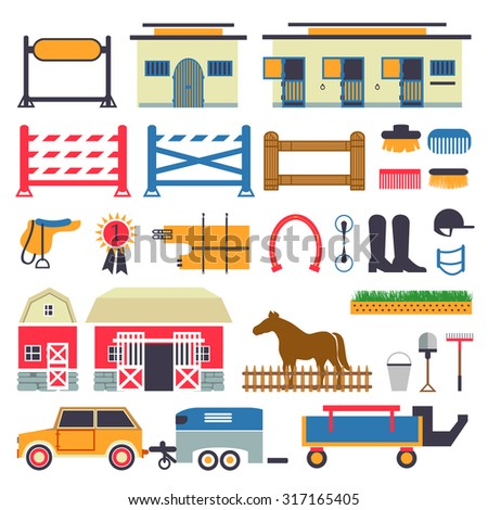 Horse Riding set. Horse stable, transporter, box, barn. Fence with gate and show jumping set - stock vector