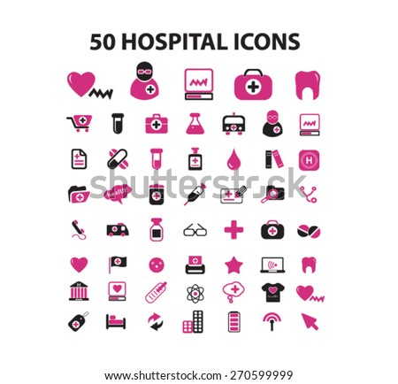 50 hospital icons set, vector - stock vector