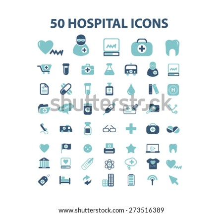 50 hospital, medicine, health care isolated web, internet, mobile, applcation icons, signs, illustrations design concept set, vector - stock vector