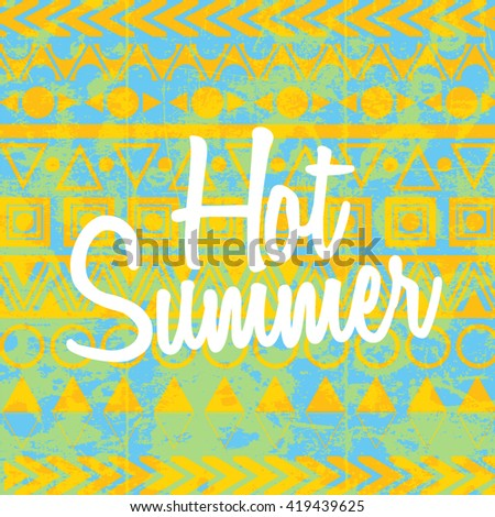 Hot Summer  vector illustration. Boho Style