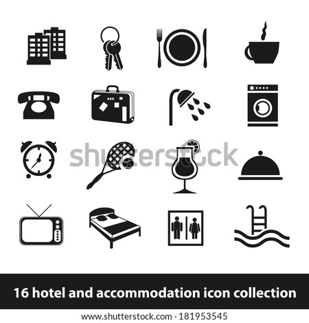 16 hotel and accommodation icon collection