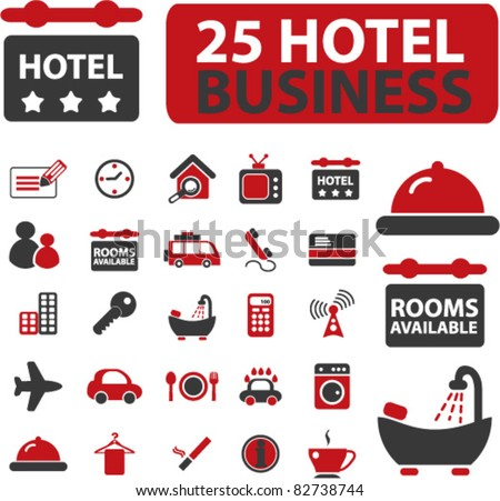 25 hotel business icons, signs, vector illustrations - stock vector