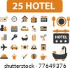 25 hotel icons, signs, vector - stock vector