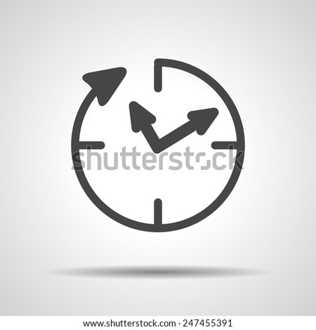 24 hour assistance , clock Icon Isolated on grey Background - stock vector