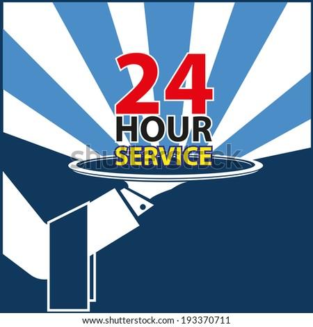 24hour service - stock vector