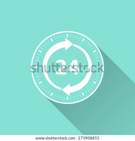 24 hour service icon on a green background. Vector illustration, flat design. - stock vector