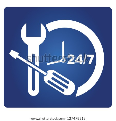 24 hour service sign, vector - stock vector