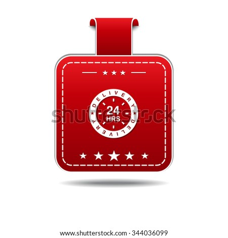 24 Hours Delivery Red Vector Icon Design
