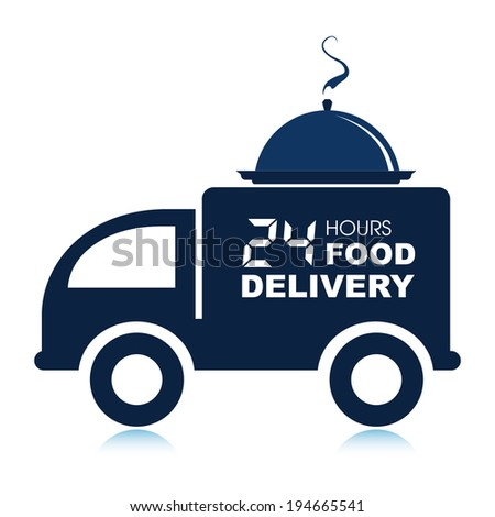 24 hours food delivery service van with platter. - stock vector