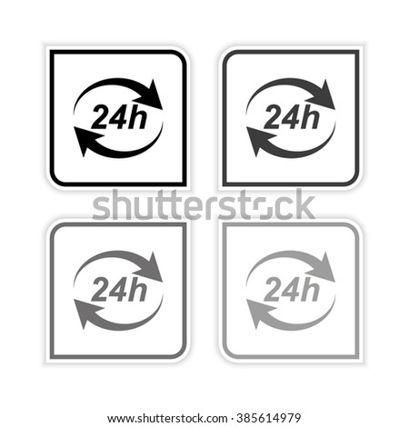 24 hours -  grayscale vector icon - stock vector