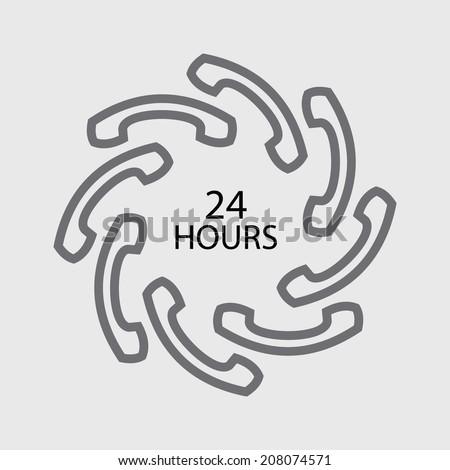 24 hours handset icon - stock vector