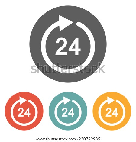 24 hours icon - stock vector