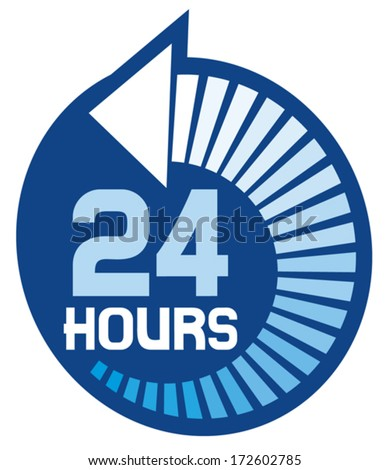 24 hours icon (24 hr sign) - stock vector