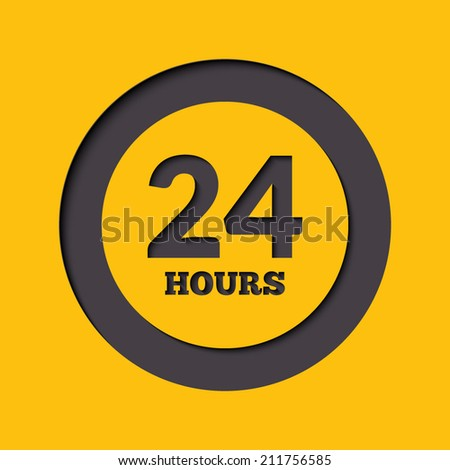 24 hours icon or signboard for your business - stock vector