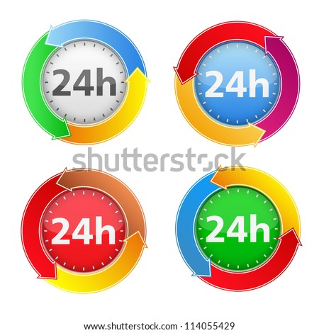 24 hours icons, vector eps10 illustration - stock vector