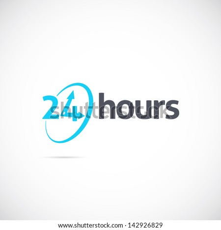 24 hours logo, icon or signboard for your business - stock vector