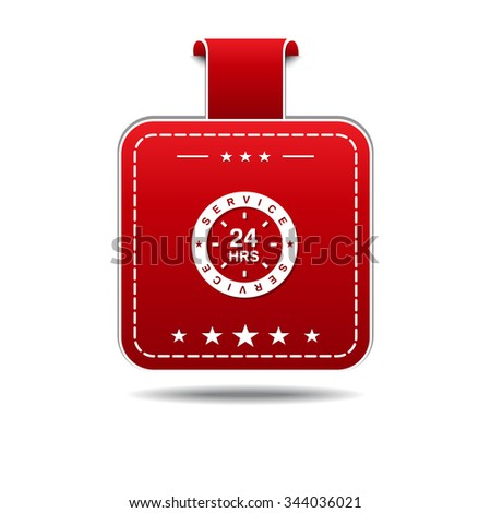 24 Hours Service Red Vector Icon Design