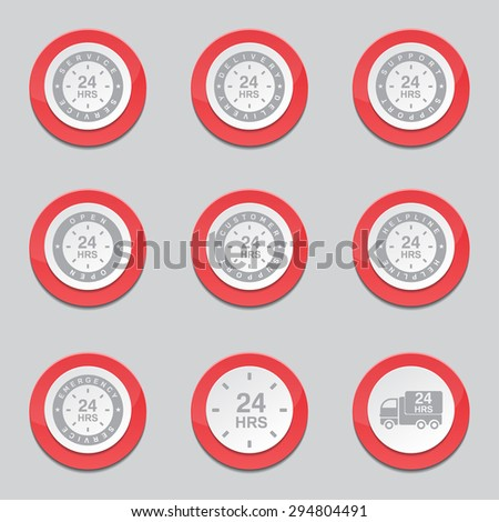 24 Hours Services Red Vector Button Icon Design Set