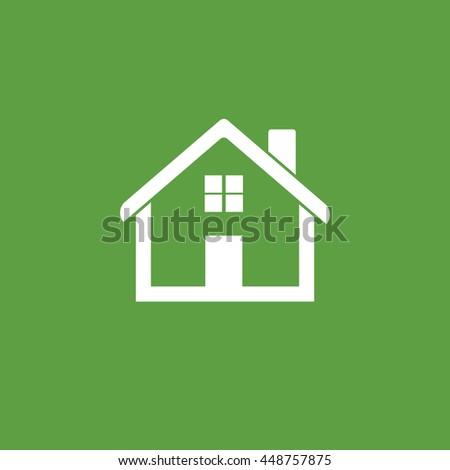 House flat vector illustration on green background - stock vector