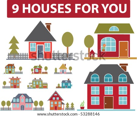 9 houses for you. vector - stock vector