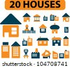 20 houses icons set, vector - stock