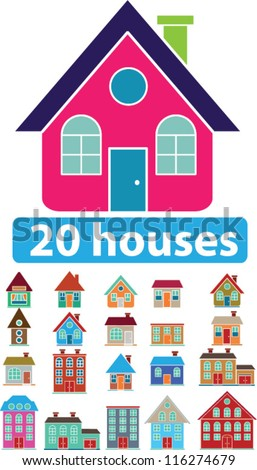 20 houses icons set, vector - stock vector