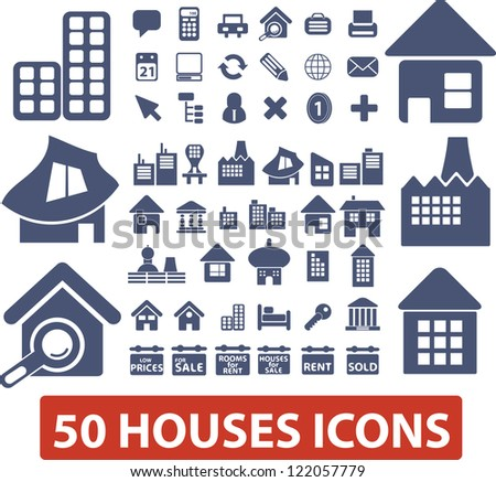 50 houses icons set, vector - stock vector