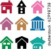 9 houses. vector - stock vector