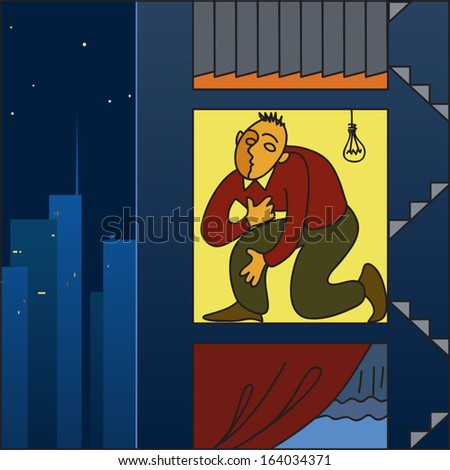 Housing crisis in a big city. Man squished in a tiny apartment in the city, vector cartoon - stock vector