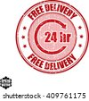 24 hr Free delivery grunge stamp.Vector - stock vector