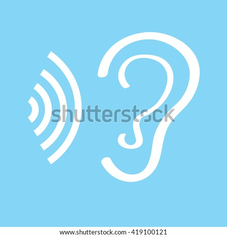Human ear sign icon on white background. Vector illustration  flat style. Vector symbol. Vector illustration. - stock vector