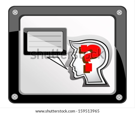 human head with question mark symbol and speech  on light background. Vector illustration - stock vector