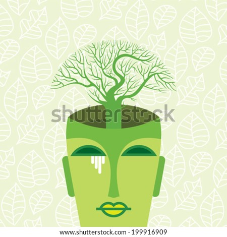 human head with tree. think green concept - stock vector