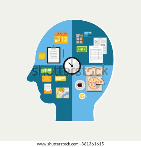 Human time management. Human thinking of daily life. The functioning of the human body and the brain - stock vector