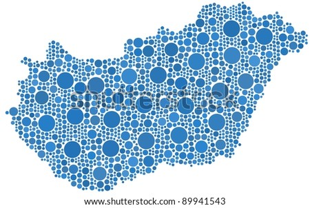 Hungary (Europe) in a mosaic of circles - stock vector