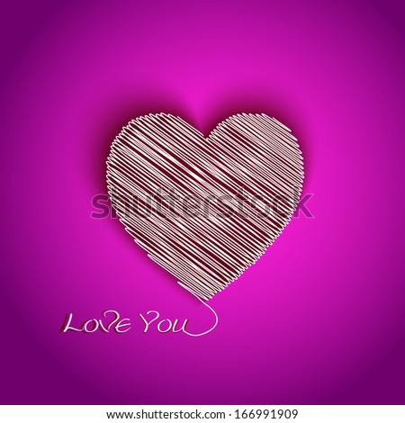 I Love You greeting card with scribble heart shape  - stock vector
