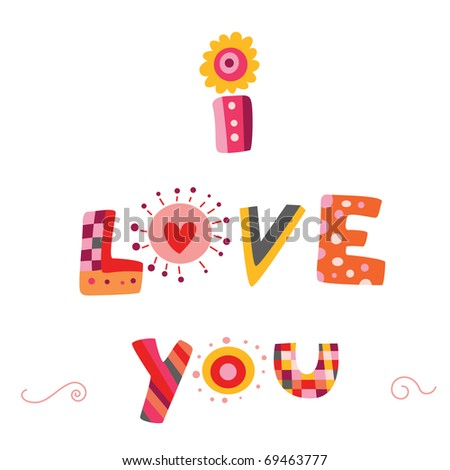 """""""I Love You"""" lettering design with colorful, funky writing. - stock vector"""