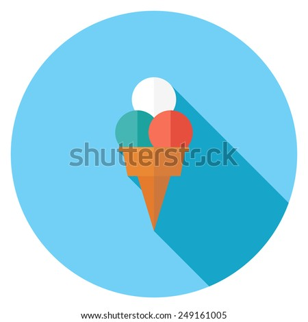 Ice cream flat icon. Modern flat icons with long shadow effect in stylish colors. Icons for Web and Mobile Application. EPS 10. - stock vector