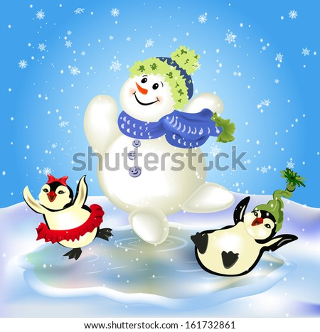 Ice-skating snowman and cute penguins - stock vector