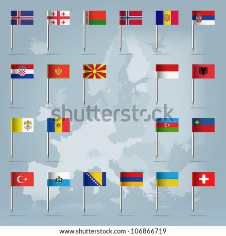 Iceland, Georgia, Belarus, Norway, Serbia, Moldova, Lichtenstein, Montenegro, Albania, Andorra, Armenia, Sanmarino, Bosnia&Herzegovina, Monaco, Switzerland, Ukraine, Vatican, Azerbaijan, Turkey - stock vector