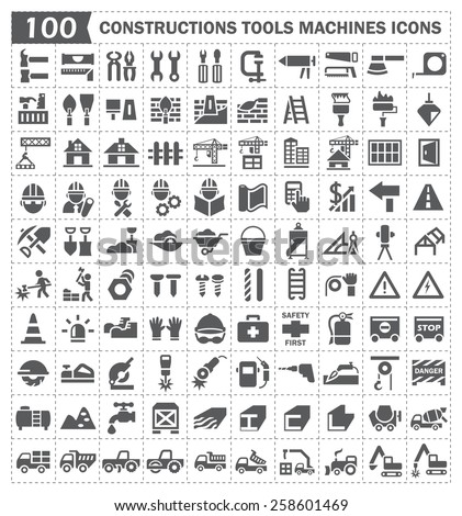 100 icon, constructions tools and machines. - stock vector