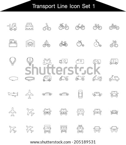 Icon line Transportation set 1  - stock vector