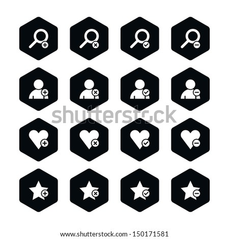 16 icon loupe, user profile, star favorite, heart bookmark icon with plus, delete, check mark minus sign set 07. White pictogram on black hexagon button. Web design element vector illustration 8 eps - stock vector